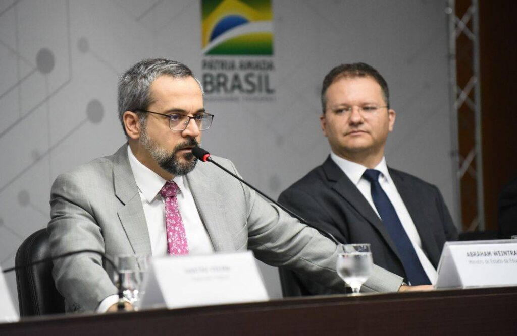 O ministro Abraham Weintraub e o secretário de Alfabetização do MEC, Carlos Nadalim.
